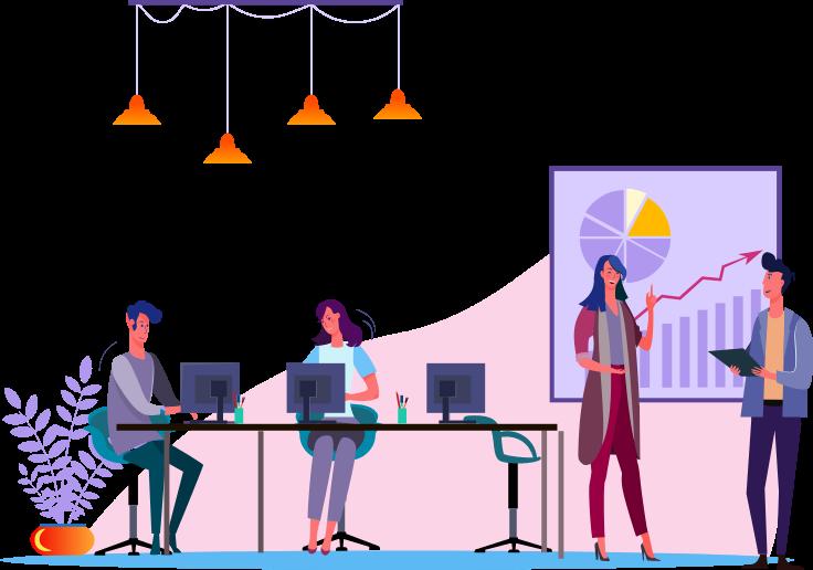 illustration bureaux avec équipements informatiques
